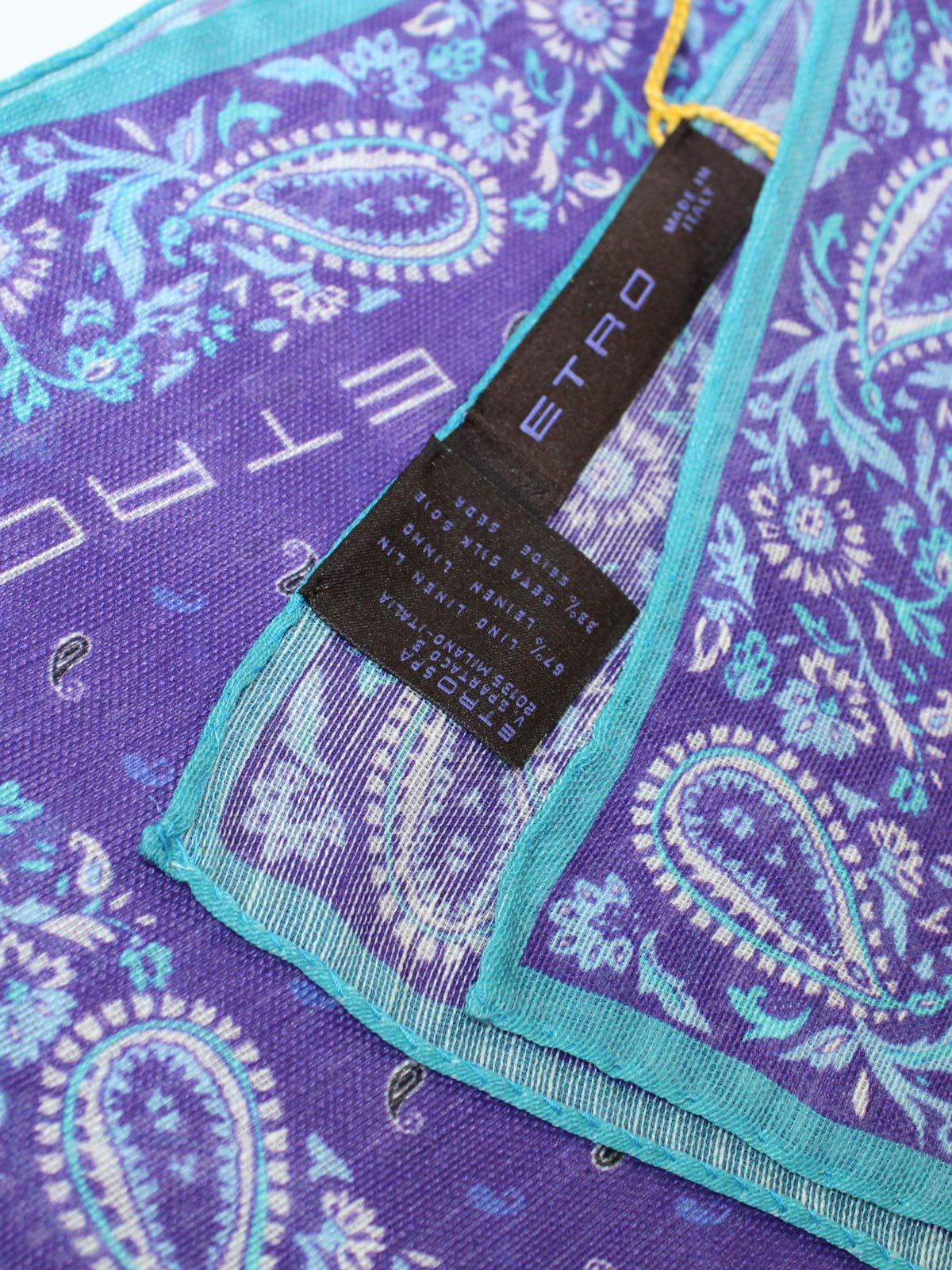 Etro Pocket Square Purple Aqua Linen Silk