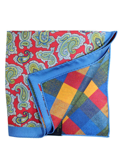 Etro Silk Pocket Square Red Blue Paisley Double Sided