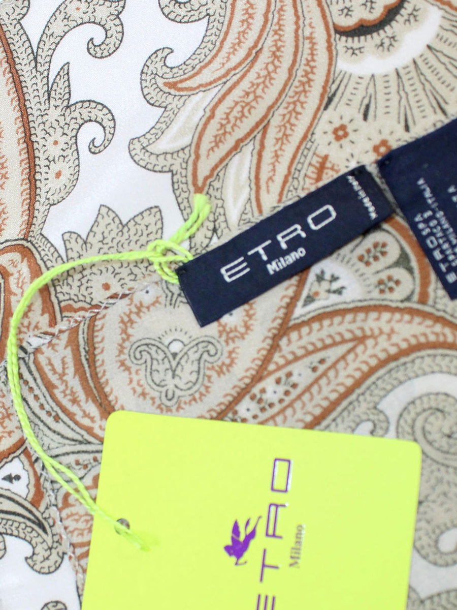 Etro Silk Pocket Square Brown Ornamental