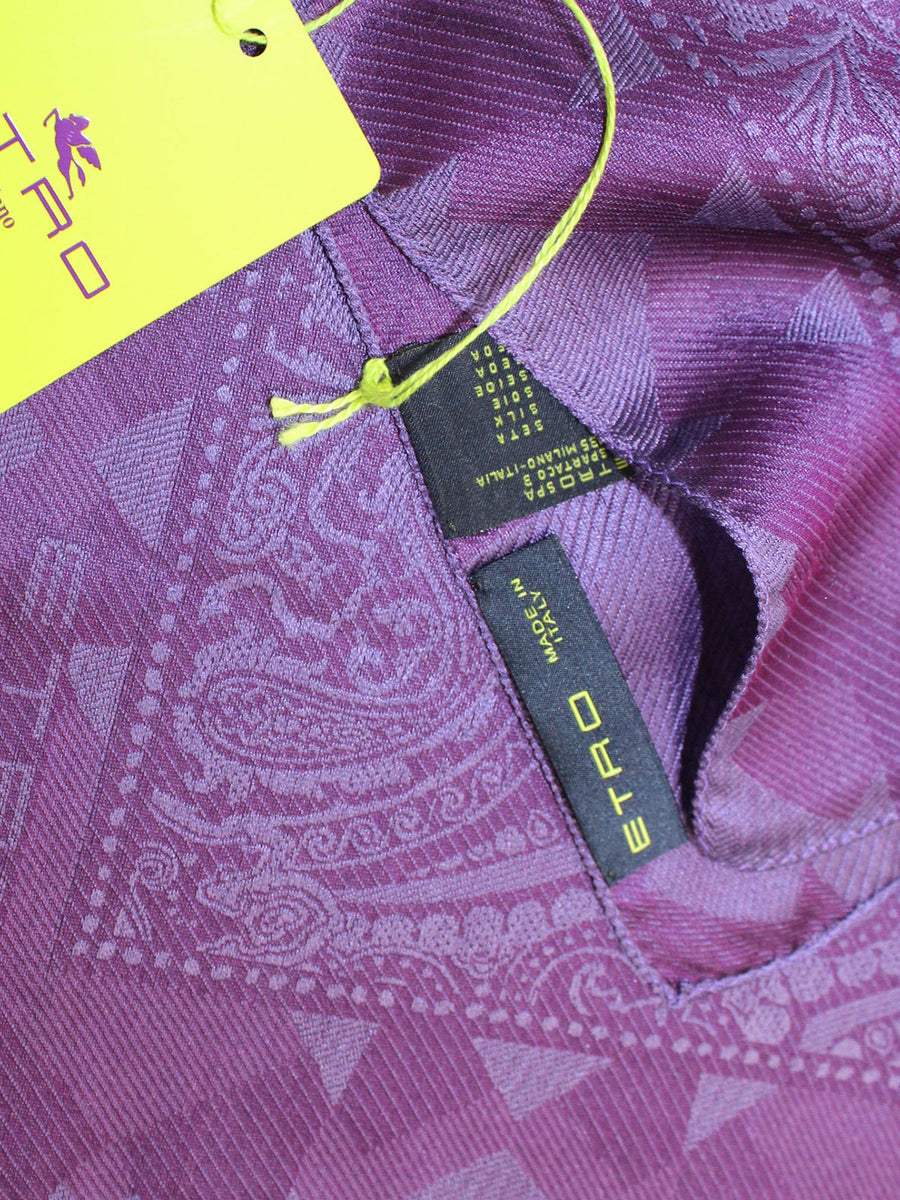 Etro Silk Pocket Square Purple Ornamental