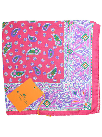 Etro Silk Pocket Square Pink Purple Ornamental