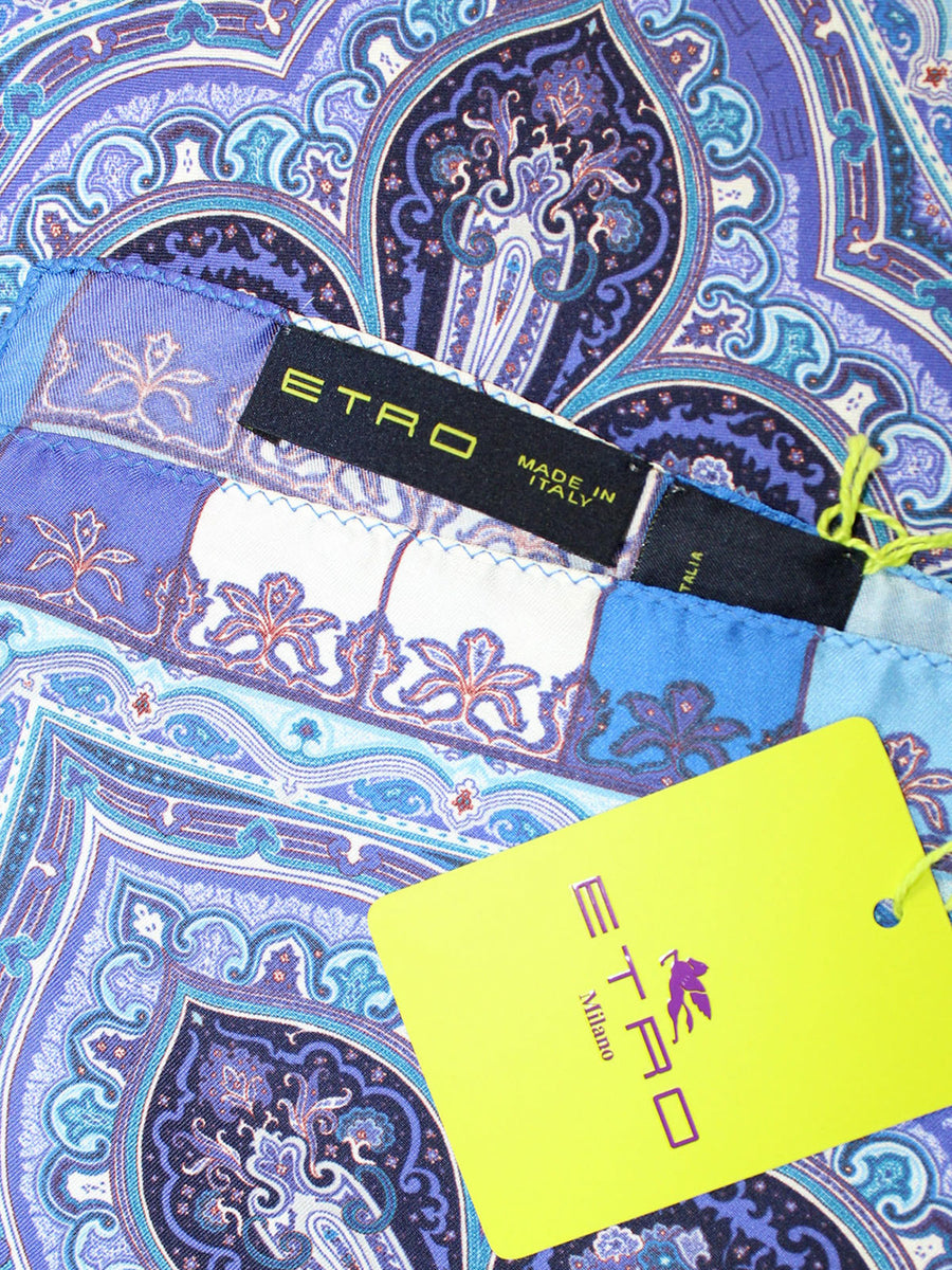 Etro Silk Pocket Square Purple Blue Ornamental