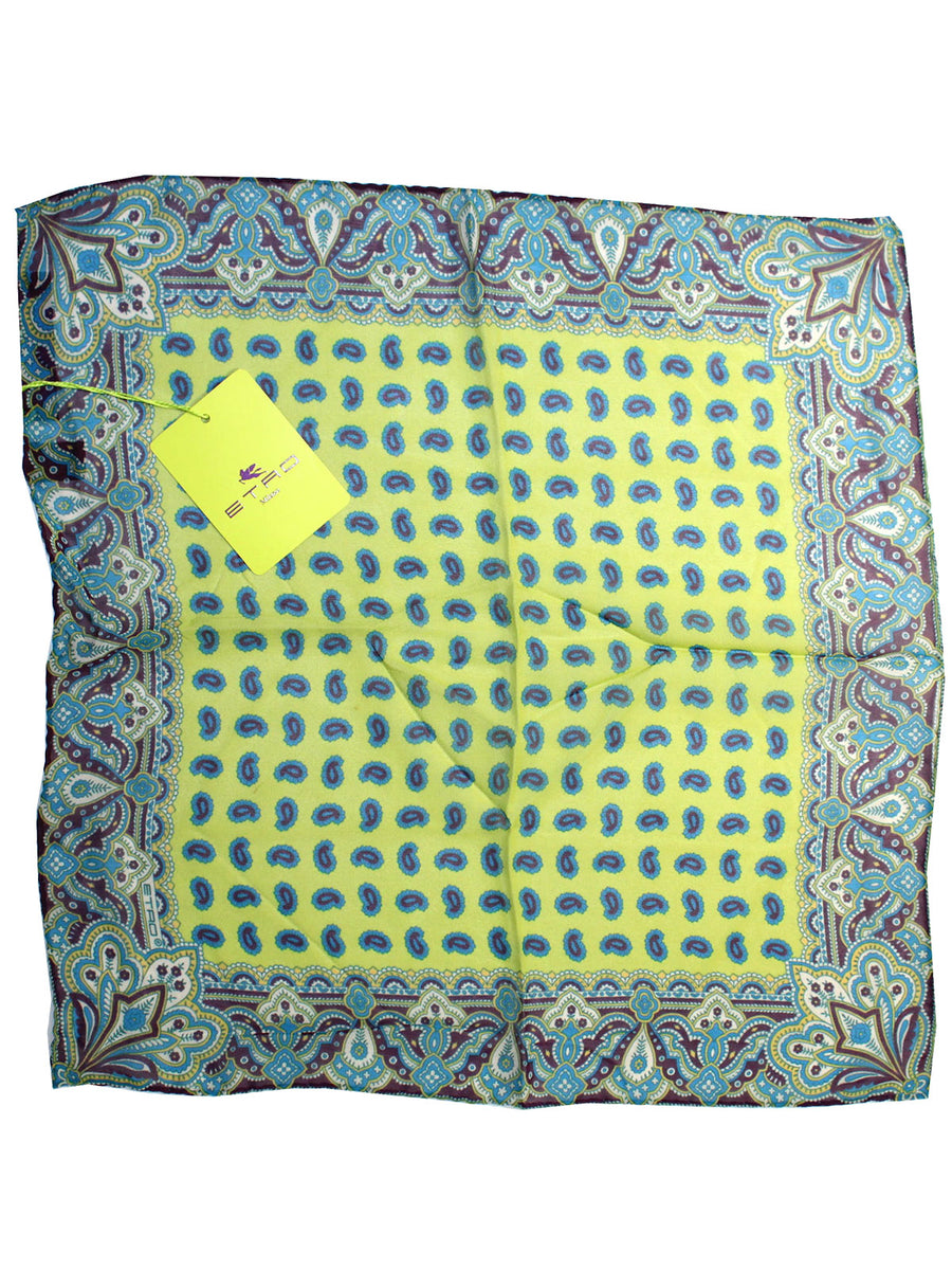Etro Silk Pocket Square Lime Purple Aqua Paisley