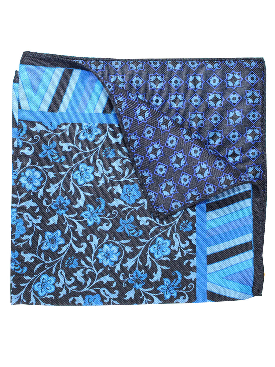 Etro Silk Pocket Square Blue Navy Floral