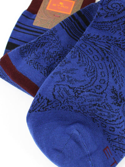 Etro Men Socks Lapis Blue Stripes & Paisley - Over The Calf