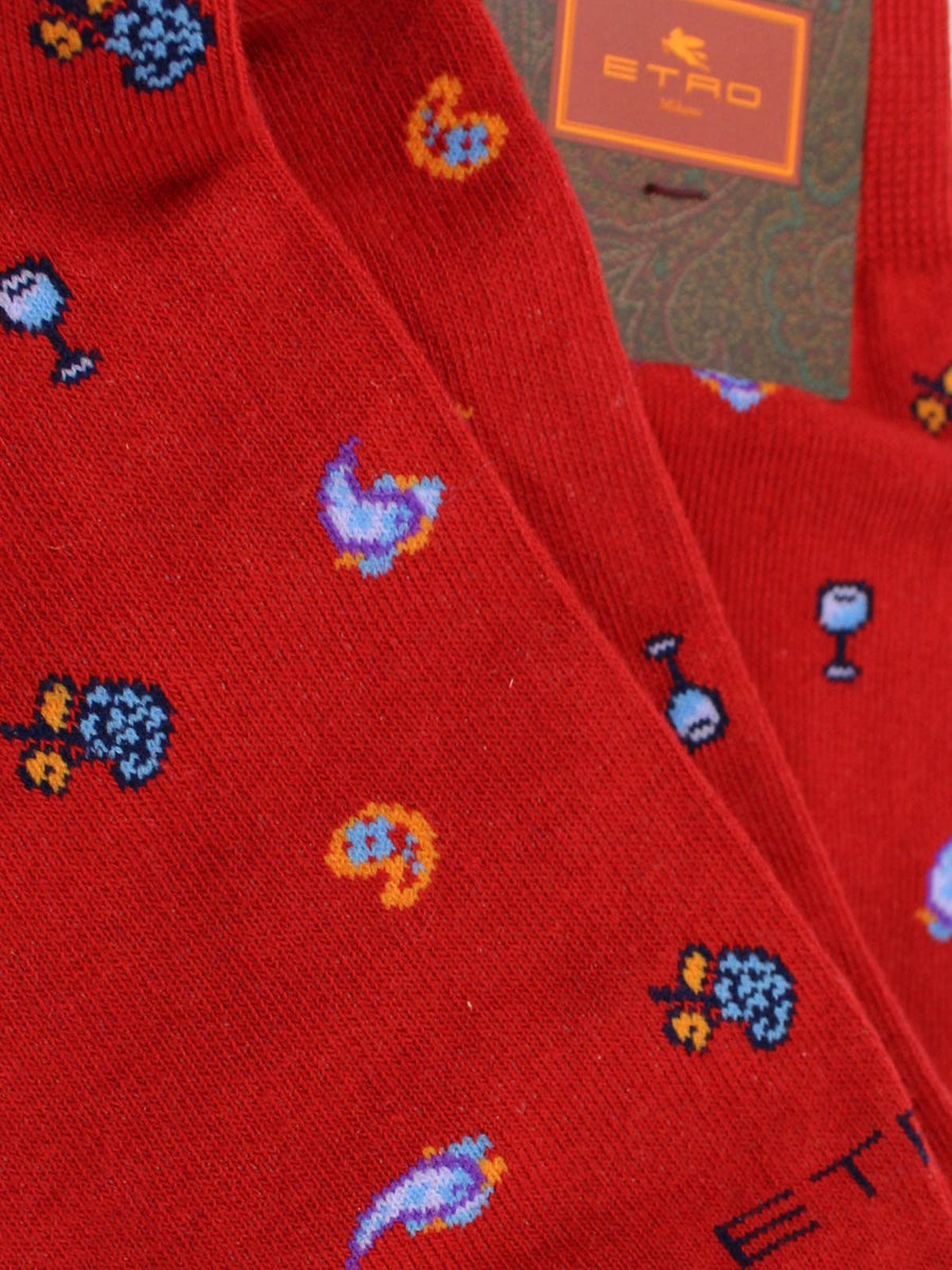 Etro Men Socks Red Novelty Design - Over The Calf