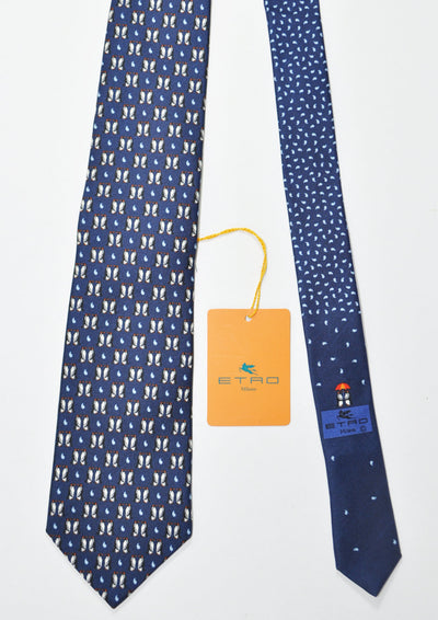 Etro Tie Navy Penguins Design