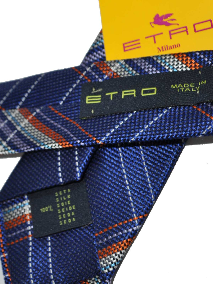 Etro Tie Royal Blue Plaid Stripes Design
