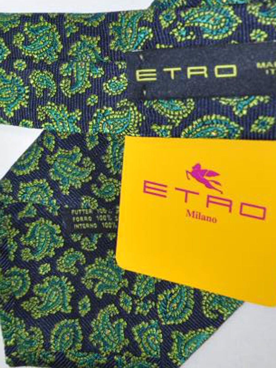 Etro Tie Navy Green Paisley Design