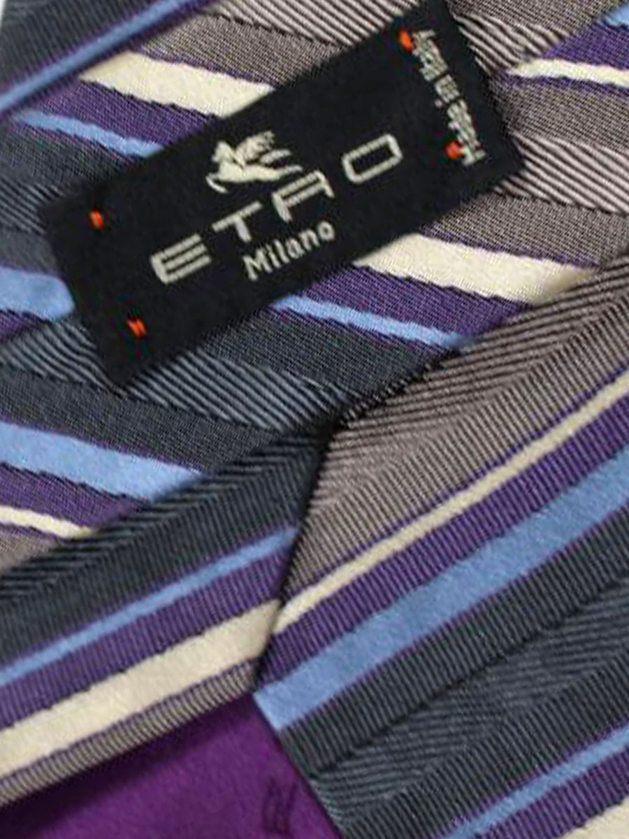 Etro Tie Grey Purple Stripes Design - Wide Necktie