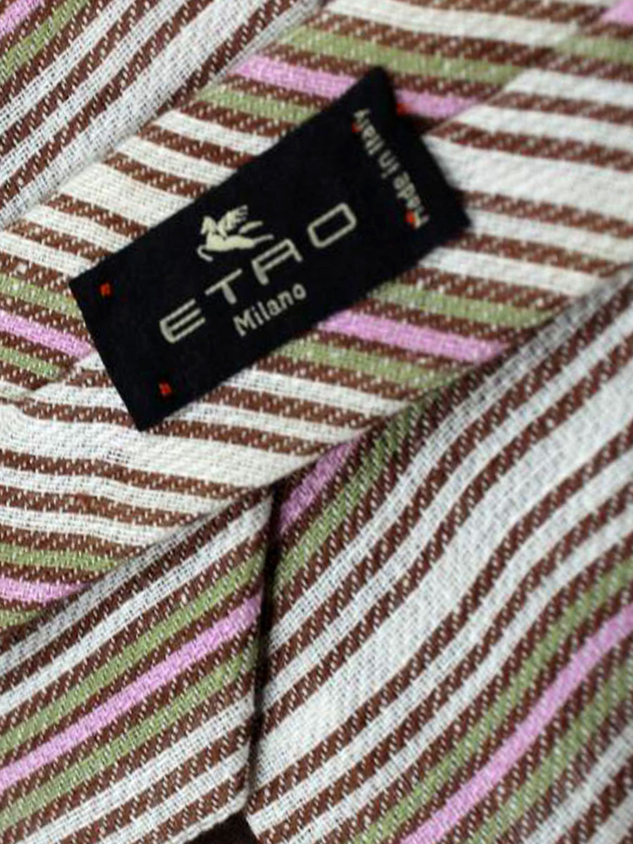 Etro Tie Classic Brown Green Pink Lime Stripes Design - Wide Necktie