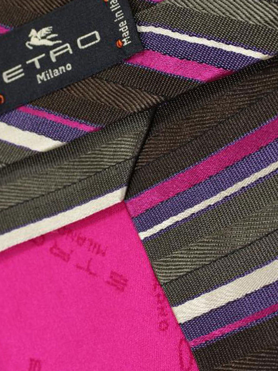 Etro Tie Classic Black Fuchsia Purple Stripes Design - Wide Necktie