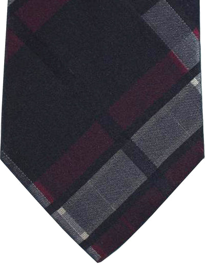 Etro Tie Classic Grey Burgundy Plaid Design - Wide Necktie