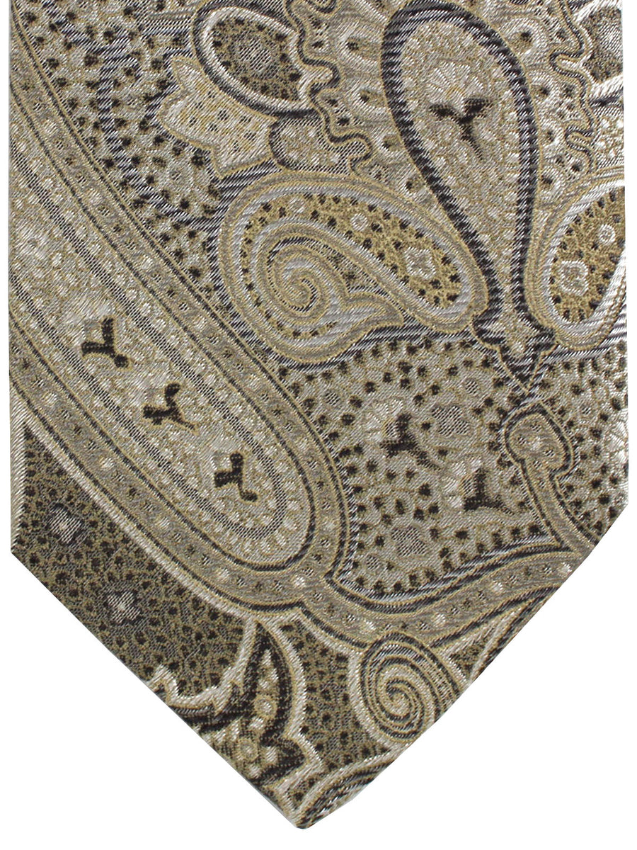 a8c731f2804d Etro Silk Tie Gray Taupe Ornamental Design - Wide Necktie