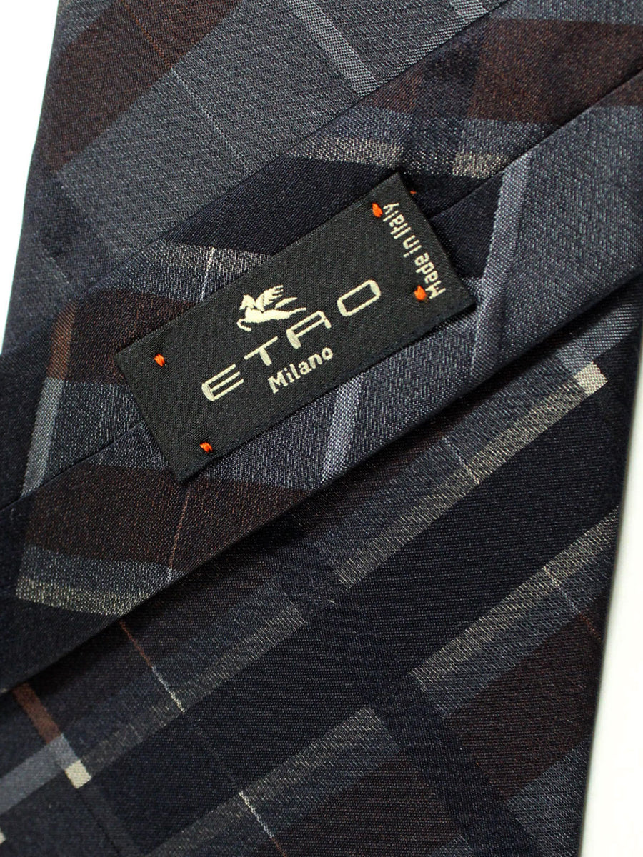 Etro Silk Tie Gray Brown Tartan Design - Wide Necktie
