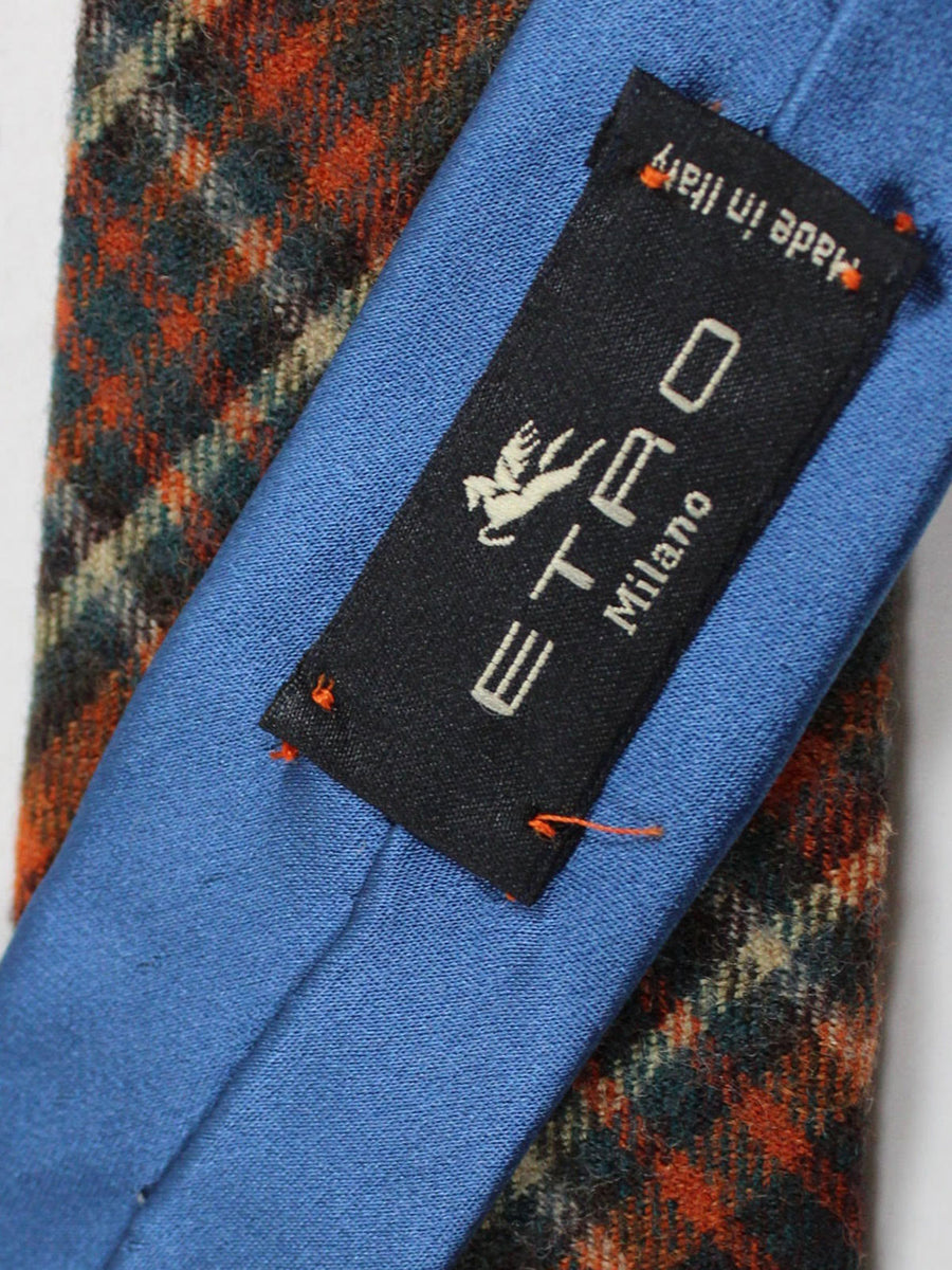 Etro Wool Tie Orange Green Brown Plaid Design - Narrow Necktie