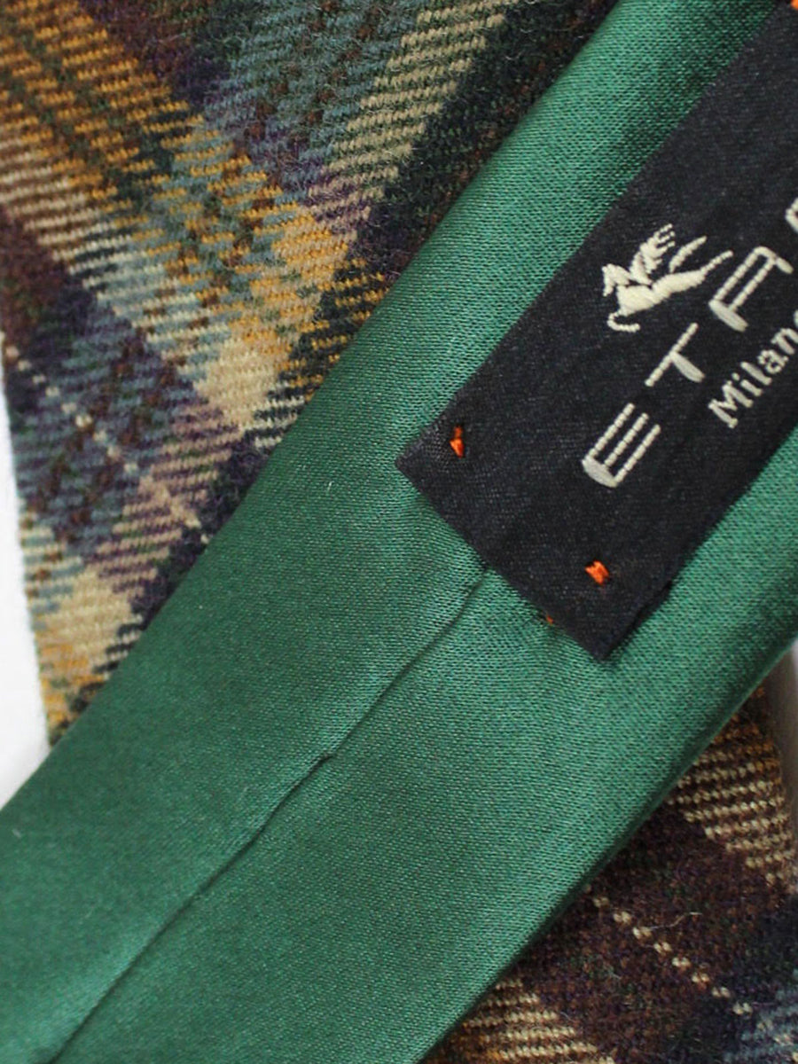 Etro Wool Tie Brown Green Plaid Design - Skinny Necktie