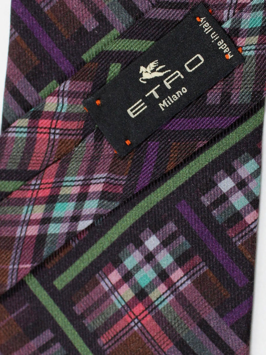 Etro Tie Purple Brown Green Pink Plaid Design