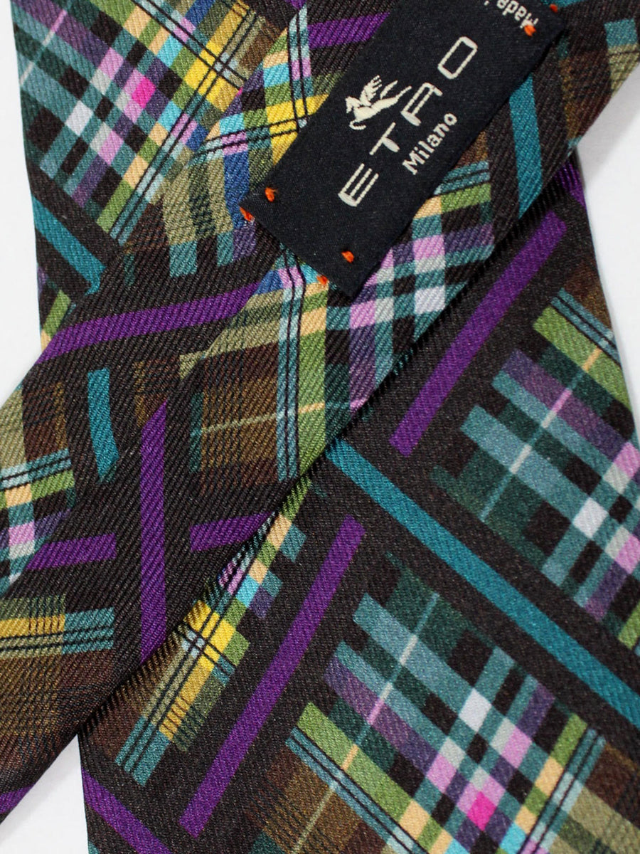 Etro Tie Brown Teal Yellow Plaid Design