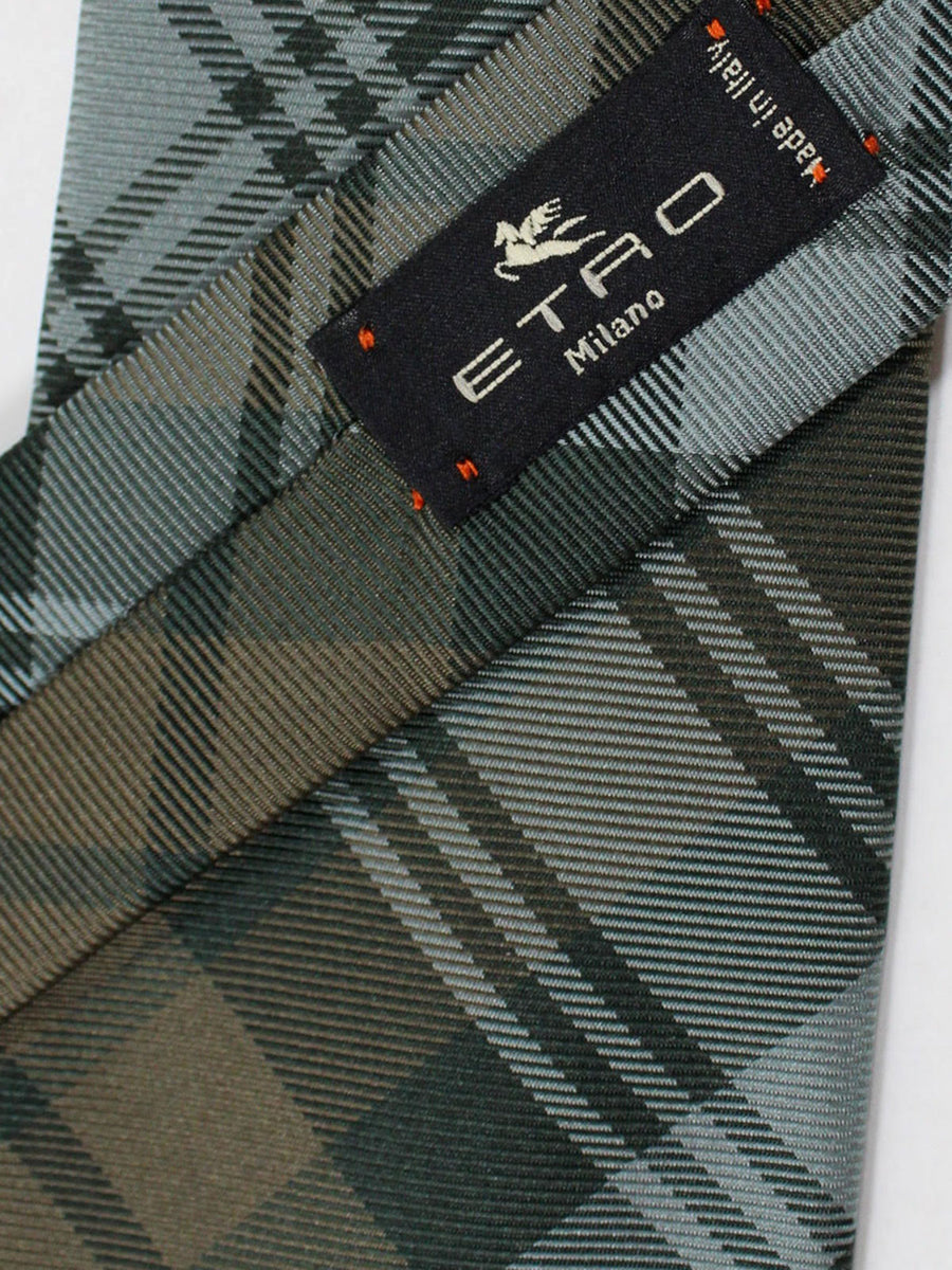 Etro Tie Gray Taupe Plaid Design