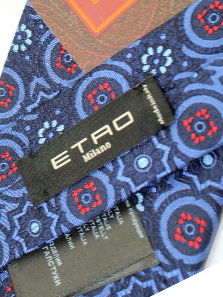 Etro Tie Blue Red Medallions Design