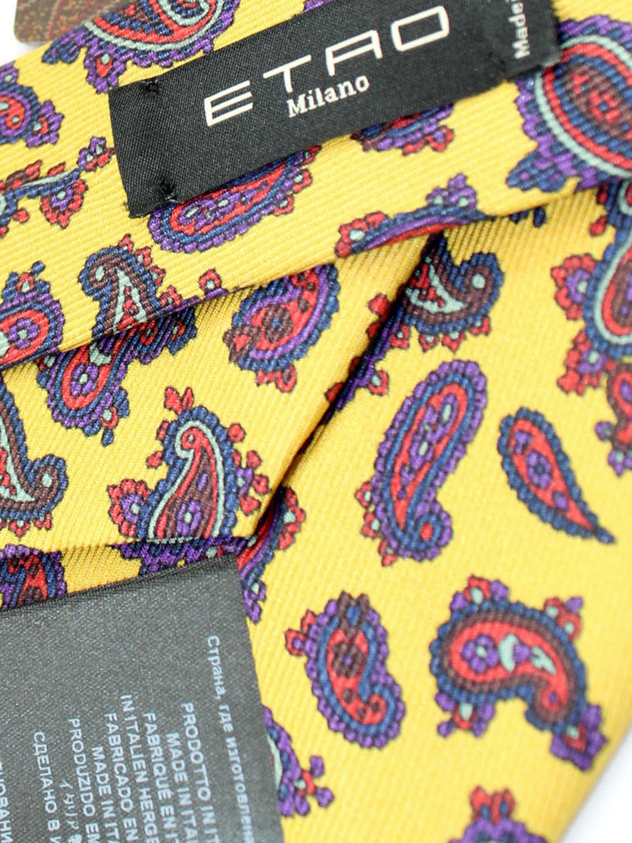 Etro Tie Mustard Yellow Purple Orange Paisley Design