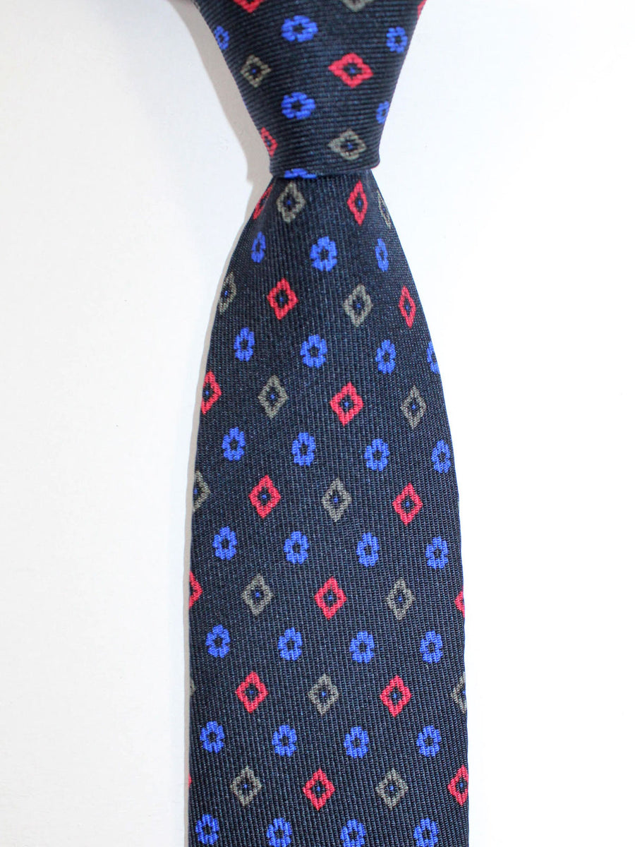 Etro Tie Black Royal Red Geometric