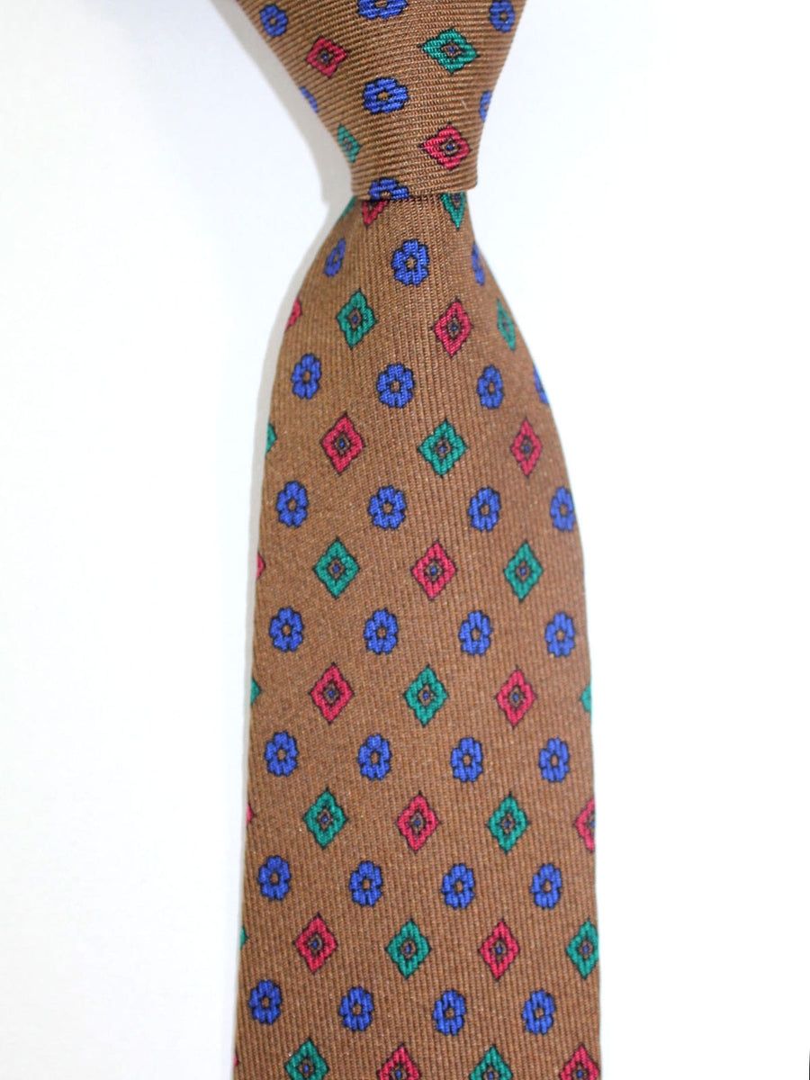 Etro Tie Brown Emerald Red Geometric