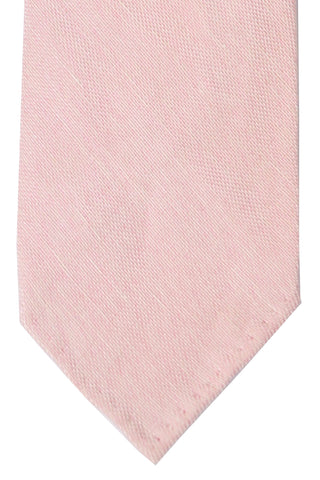 Finamore Sevenfold Tie Pink White Solid Linen Silk
