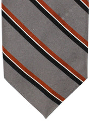 Finamore Sevenfold Tie Gray Copper Stripes