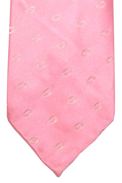 Finamore Unlined Sevenfold Tie Pink Ovals