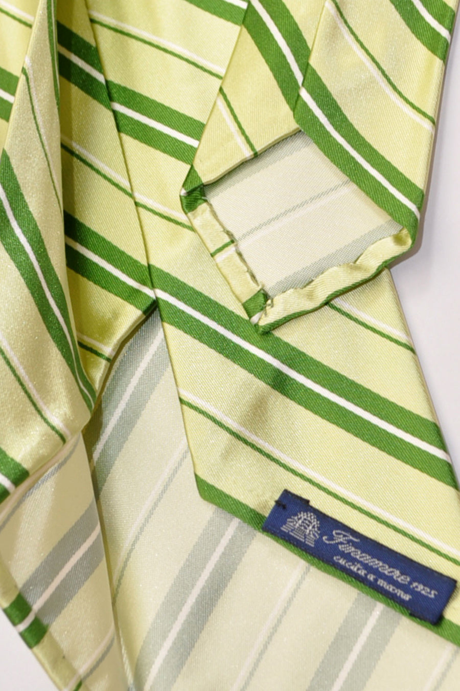 Finamore Unlined Sevenfold Tie Green Stripes