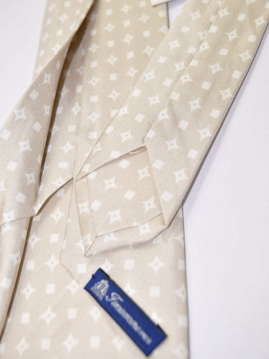 Finamore Sevenfold Tie Gray White Geometric - Self Tipped