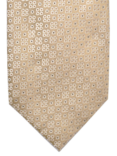 Finamore Sevenfold Tie Taupe Brown Silver Dots - Self Tipped
