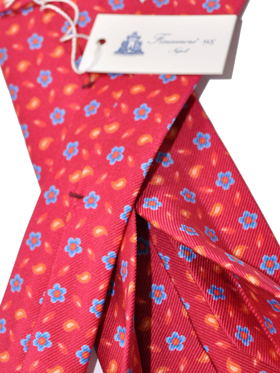 Finamore Sevenfold Tie Red Orange Blue Floral - Self Tipped