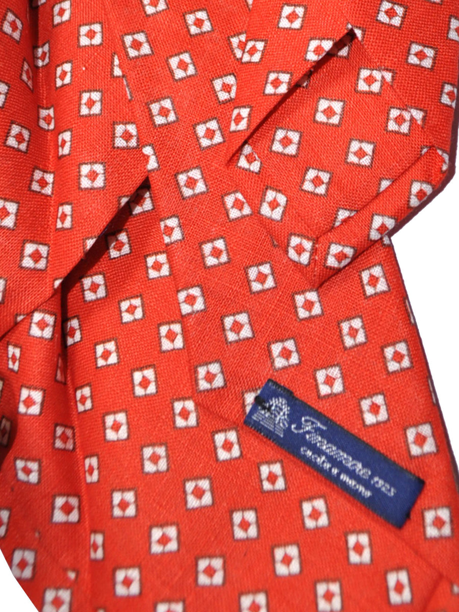 Finamore Sevenfold Tie Red White Geometric Design