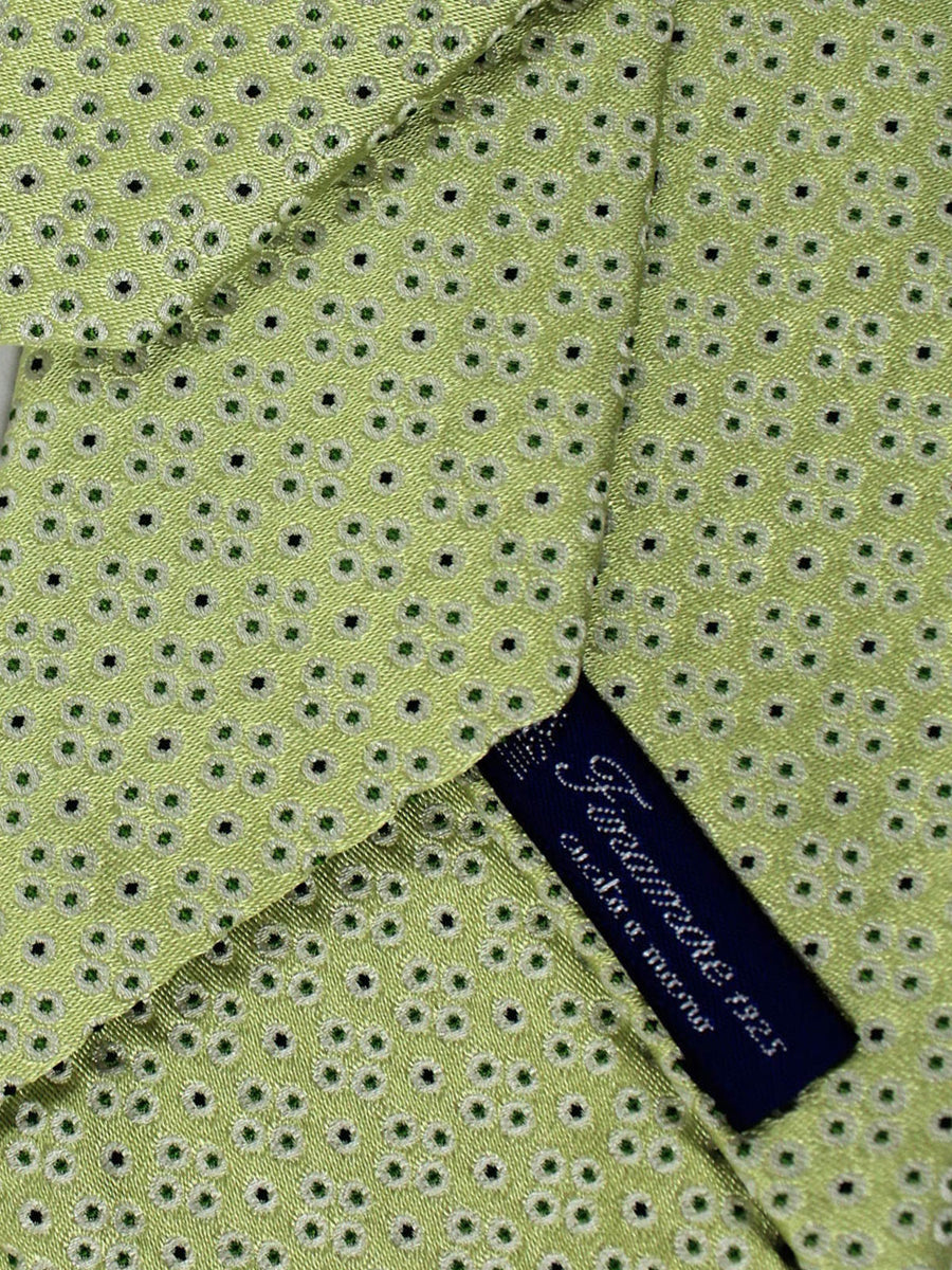 Finamore Sevenfold Tie Lime Navy Blue Silver Dots