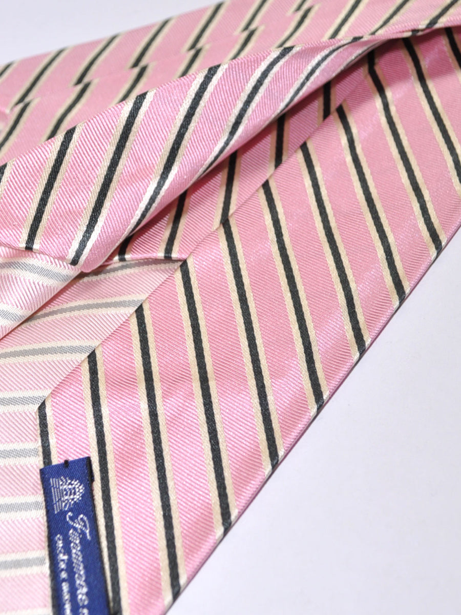 Finamore Unlined Sevenfold Tie Pink Dark Navy Stripes