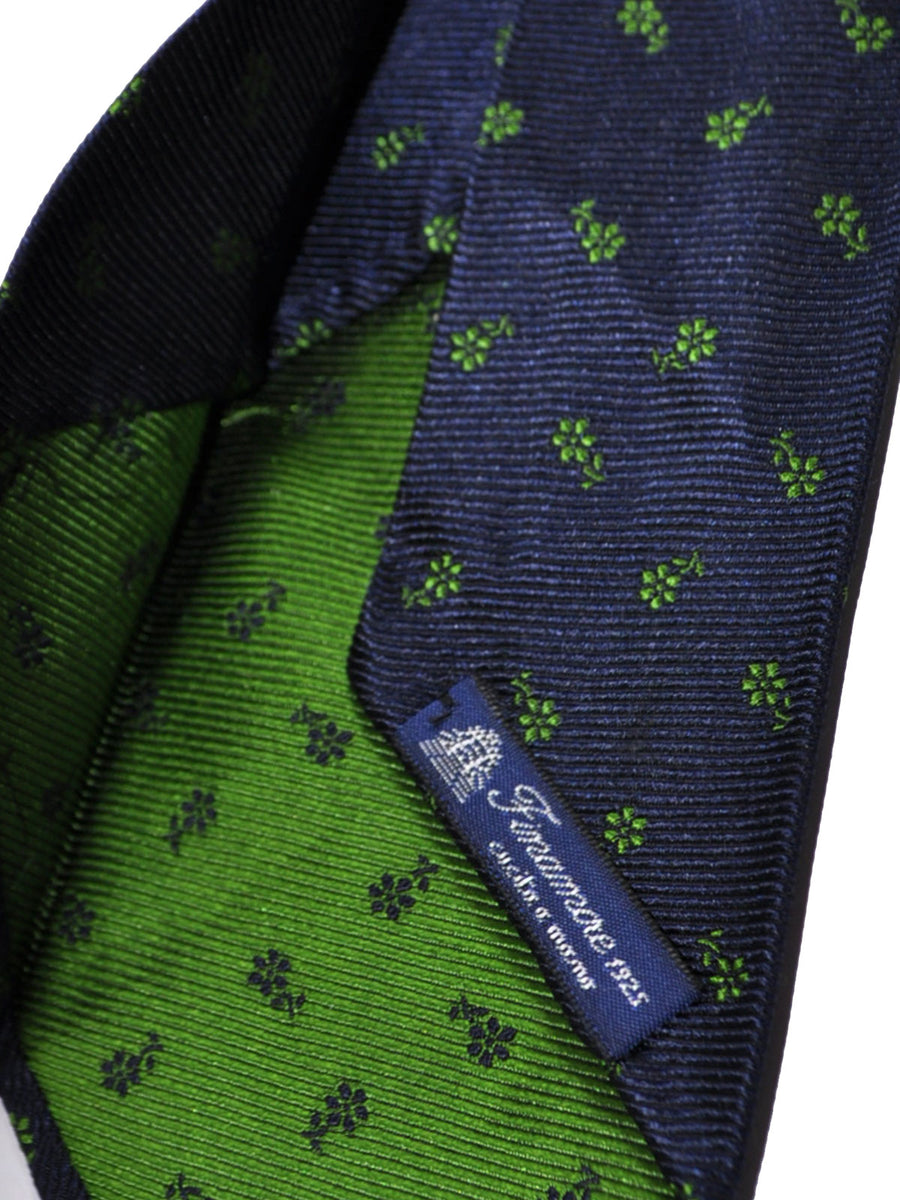 Finamore Unlined Sevenfold Tie Navy Green Floral