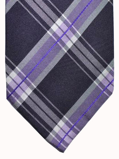 Finamore Unlined Sevenfold Tie Purple Lavender Plaid