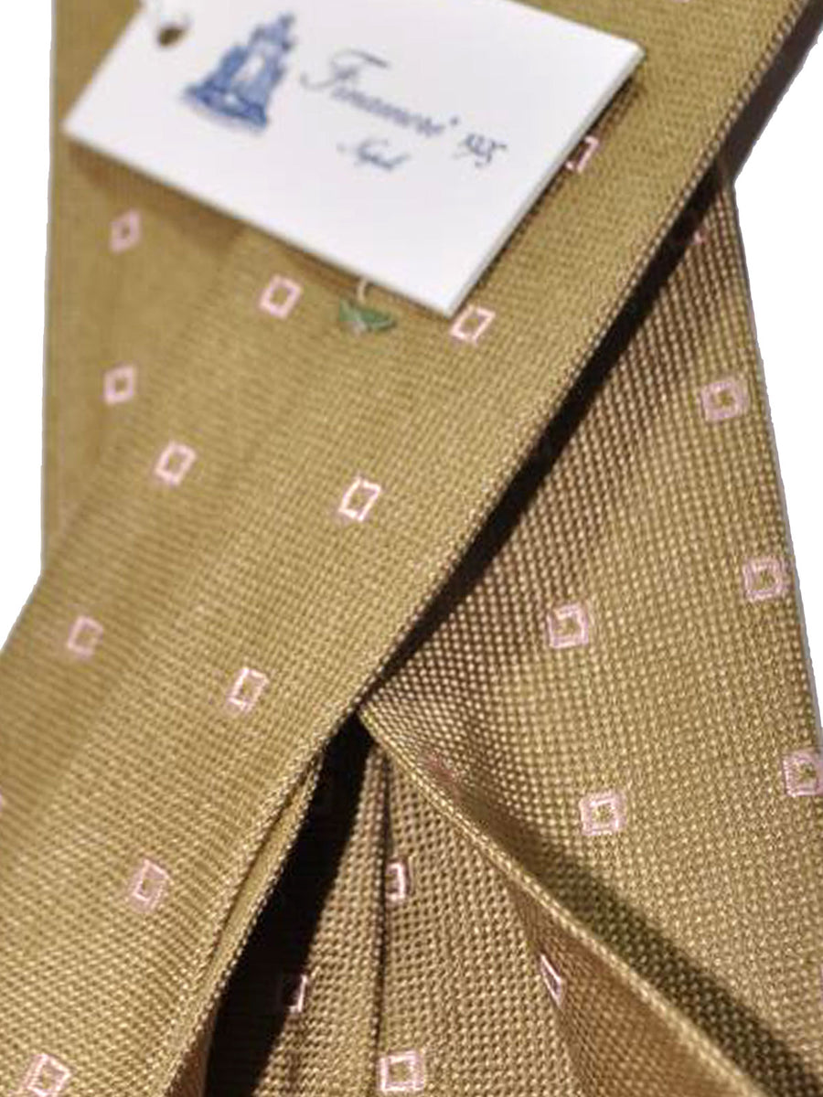 Finamore Unlined Sevenfold Tie Olive Pink Squares