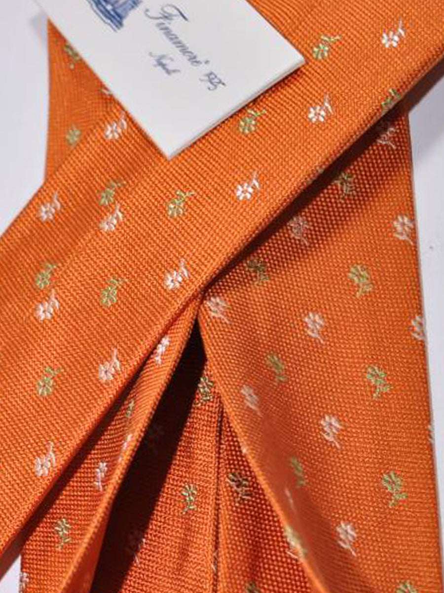 Finamore Unlined Sevenfold Tie Orange Floral