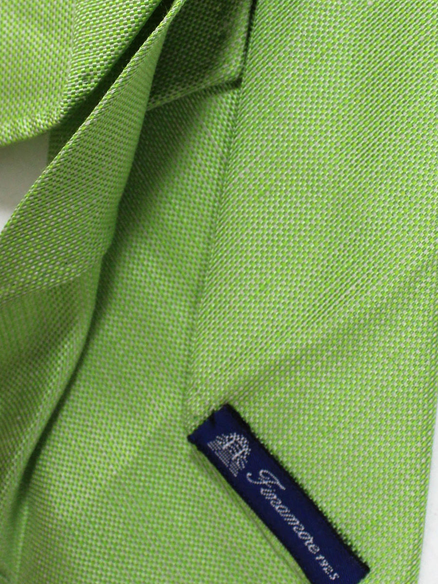 Finamore Sevenfold Tie Lime Green Solid Unlined Necktie