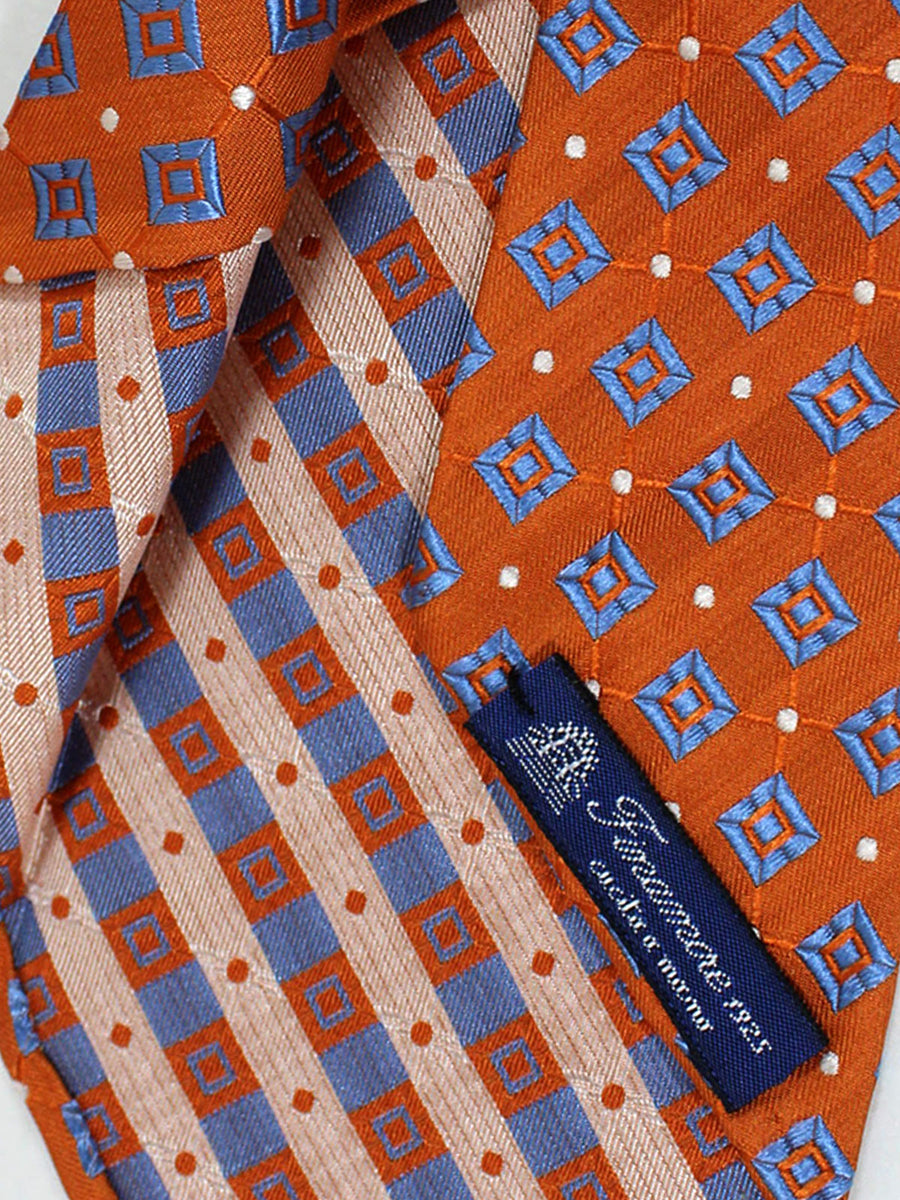 Finamore Sevenfold Tie Orange Blue Geometric Unlined Necktie