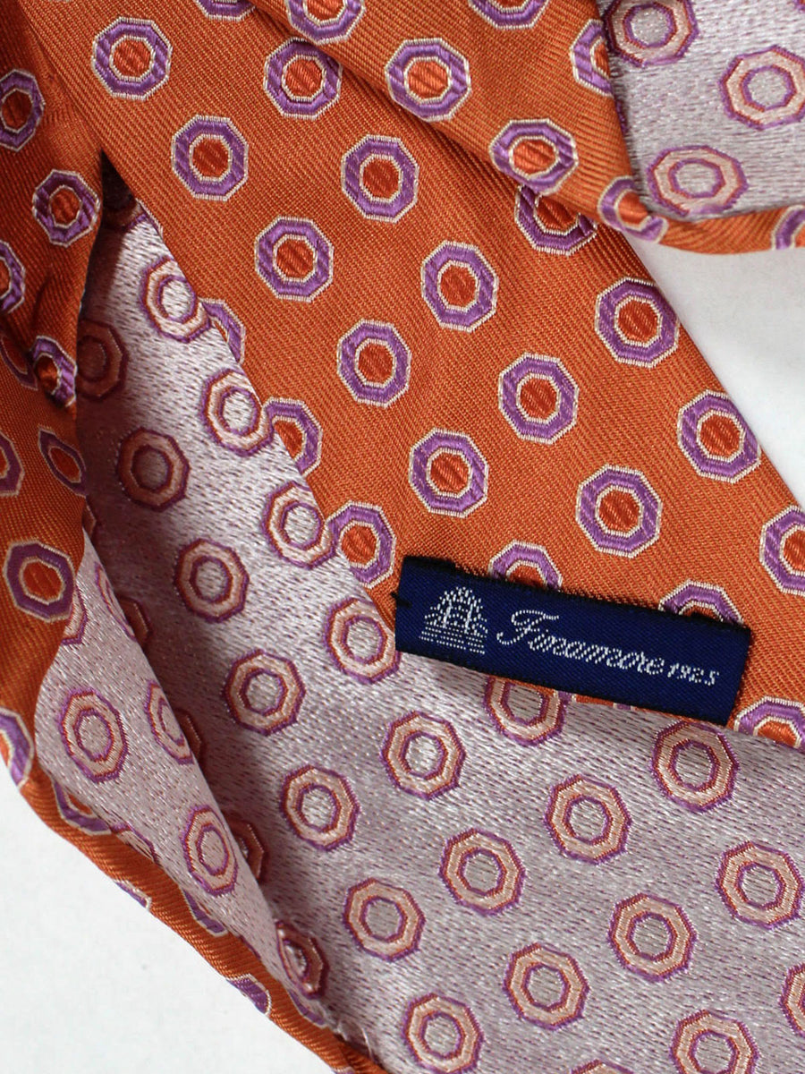 Finamore Sevenfold Tie Orange Lilac Geometric Unlined Necktie