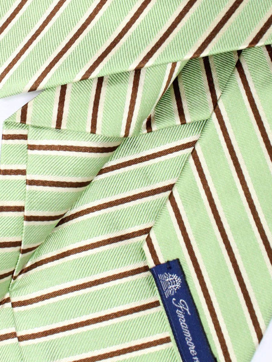 Finamore Sevenfold Tie Lime Brown Stripes