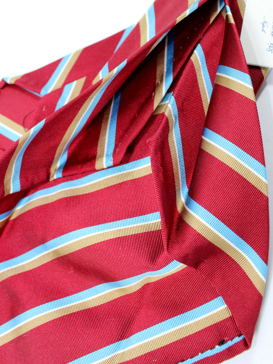 Finamore Unlined Sevenfold Tie Maroon Sky Blue Taupe Stripes