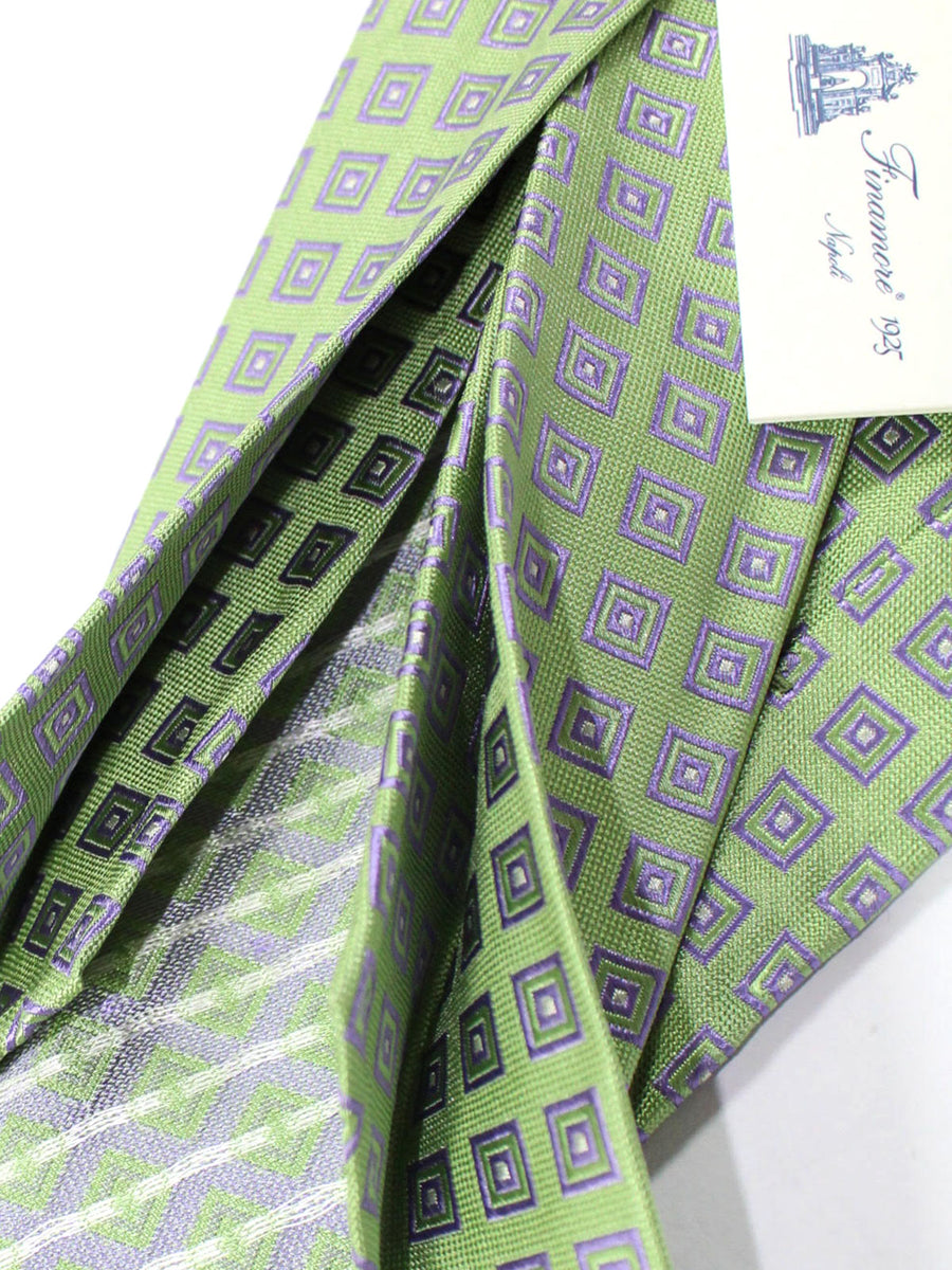 Finamore Unlined Sevenfold Tie Mint Lilac Geometric
