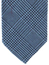 Finamore Unlined Sevenfold Tie Blue Navy Glen Check