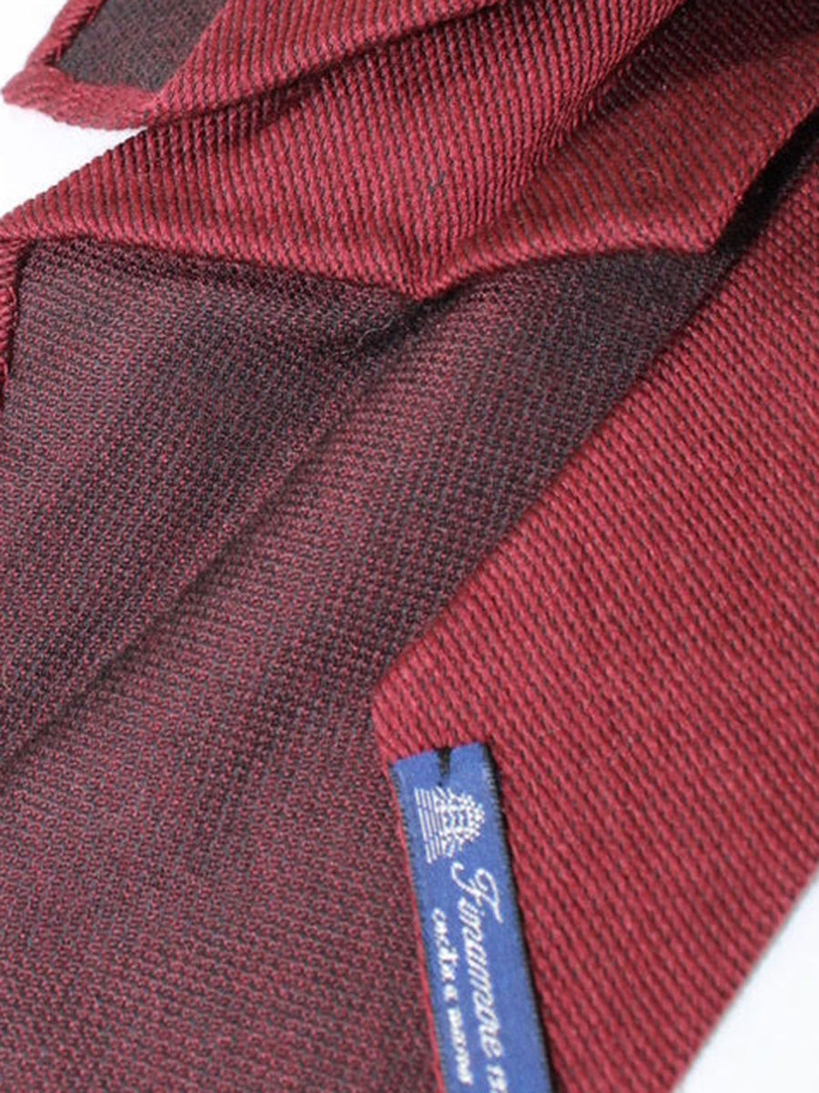 Finamore Unlined Sevenfold Tie Burgundy Solid